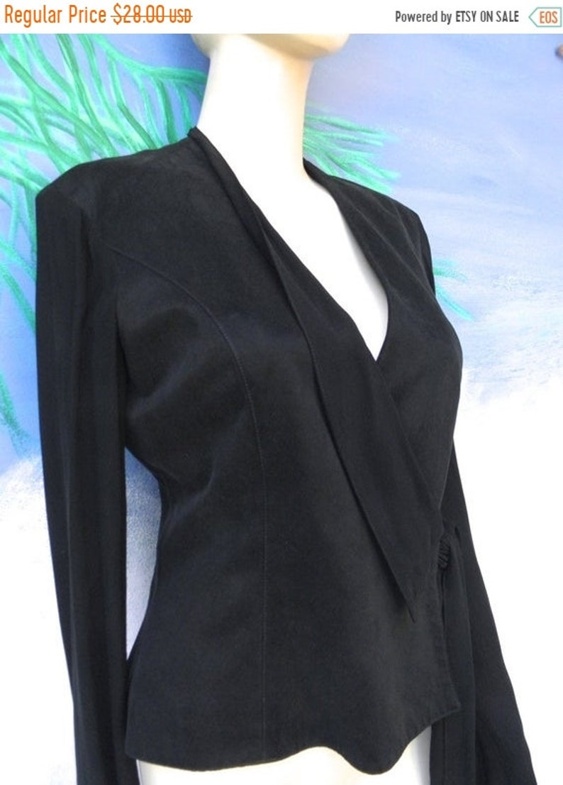 1/2 OFF Platinum Black Wrap Suede Like Crop Vintage Jacket image 0