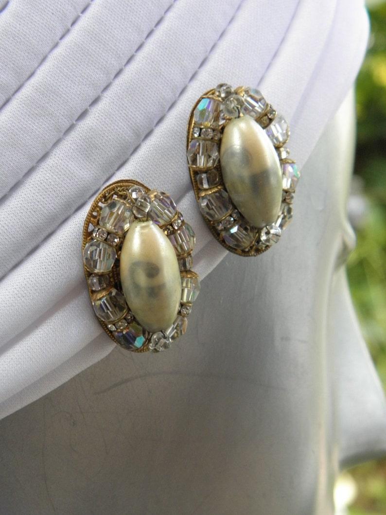 1940/'s Robert Pearl /& AB Crystals Vintage Earrings Miriam Haskell Rondels AB Crystals