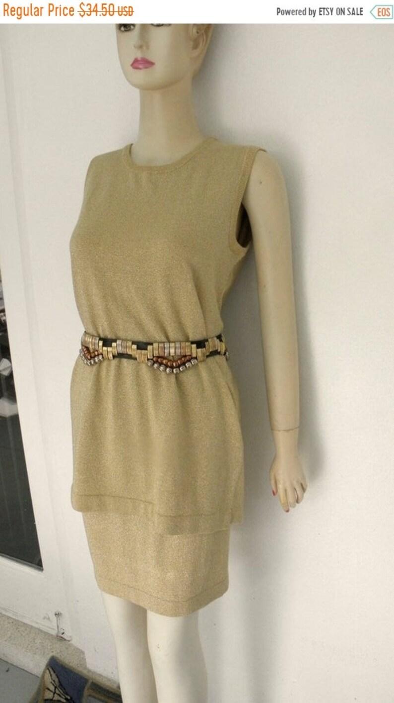50 OFF Vintage Richard & Co. Gold Knit Metallic Shell n Skirt image 0