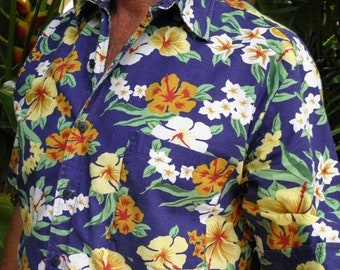 "1/2 OFF Rio De Janeiro ""Men's Shop"" S/S Tropical Hawaiian Vintage Shirt, size S-M, made in Brazil"