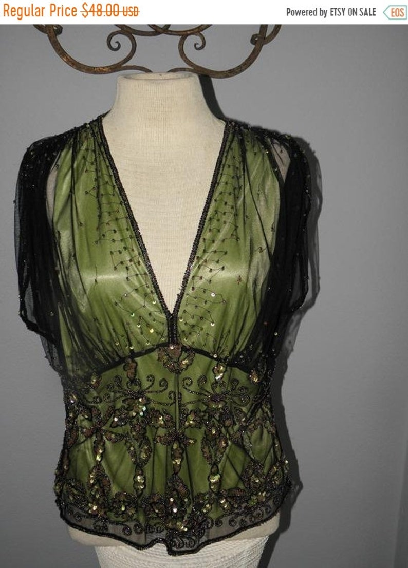 50 OFF 1960's Black Sequin n Sheer Lace over Apple Green image 0