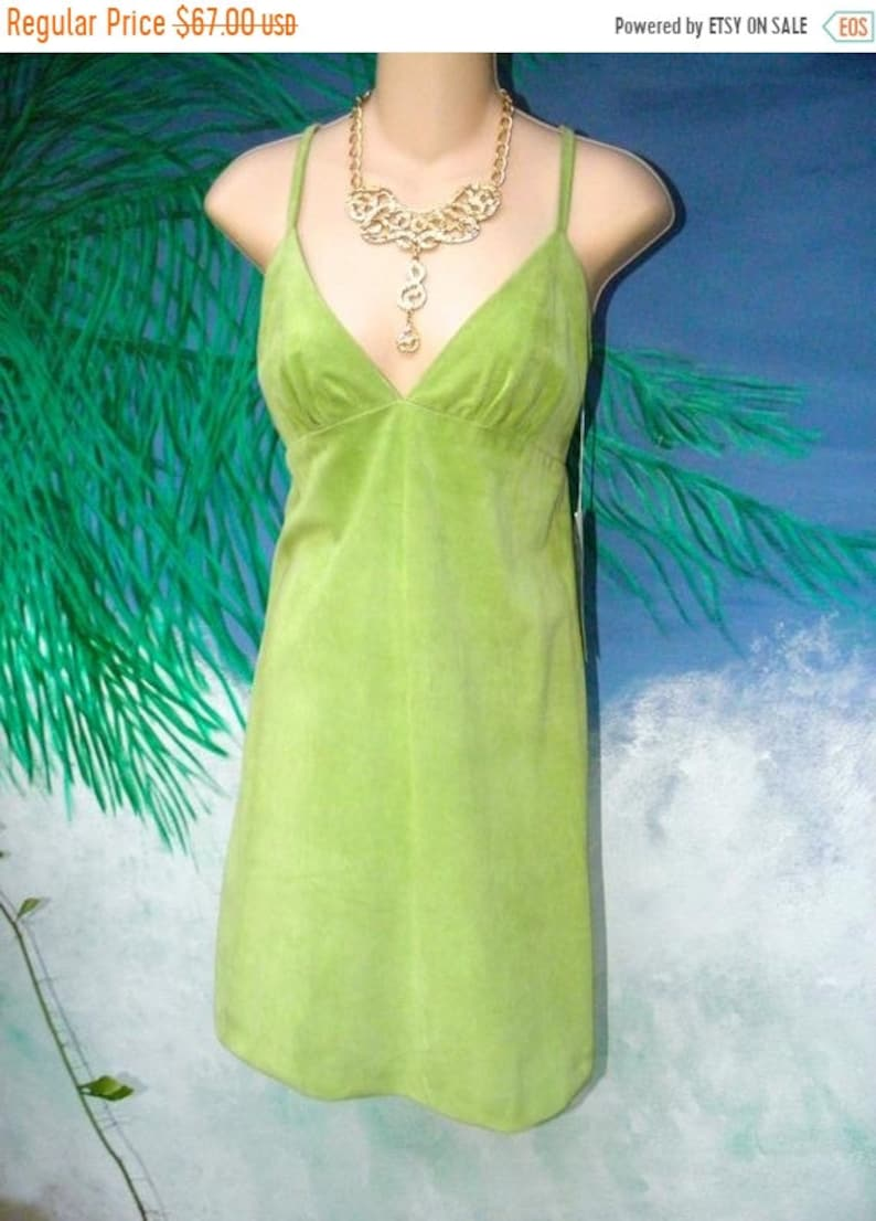 50 OFF Vintage NWT 90's Cynthia Rowley Green Suede Dress image 0