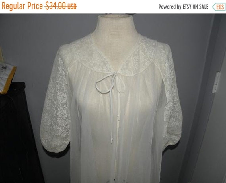 50 OFF 60's Lisette White Satiny w/ Sheer Lace Sleeves image 0