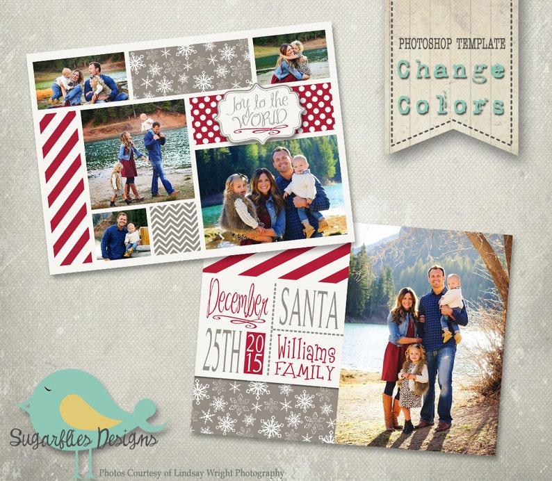 Christmas Card PHOTOSHOP TEMPLATE - Family Christmas Card 136