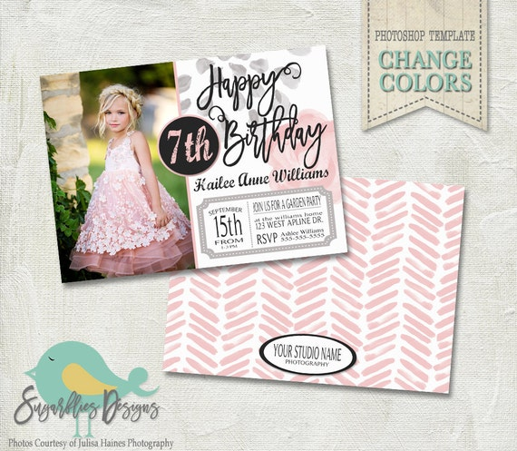 Birthday Invitation PHOTOSHOP TEMPLATE Girl 001