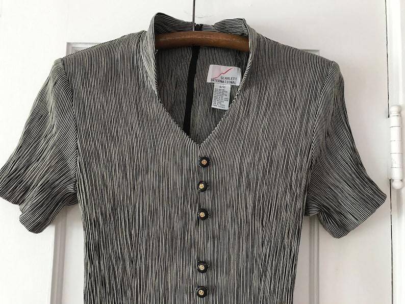 Vintage Black Striped Stretch Dress