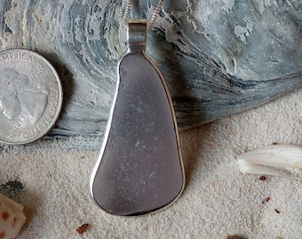 Beautiful large and amazing lake Erie beach glass pendant in sterling silver rare