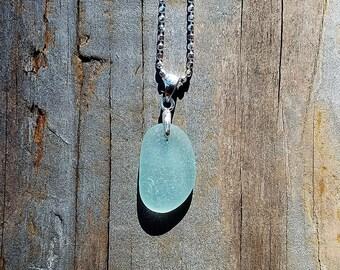 Genuine Beach Sea Glass Sterling Silver Pendant - Sky Blue