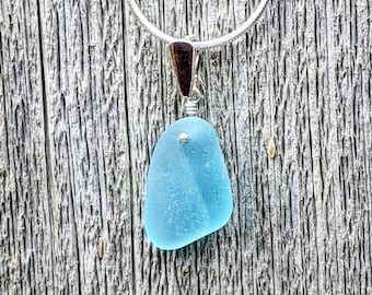 Genuine Beach Sea Glass Sterling Silver RARE Bottleneck LipRim Pendant  Necklace Rare Brilliant Aqua Sea Glass