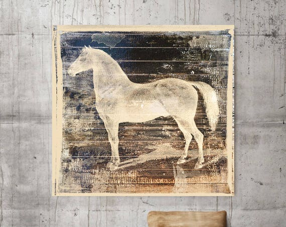 "White Horse I. Large Horse, Unique Brown Horse Canvas Print, Rustic Horse, Large Contemporary Canvas Art Print up to 48"" by Irena Orlov"