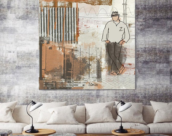 "Large Architectural Cityscape Canvas Art Print. Rustic Brown URBAN Canvas Art Print up to 48"" by Irena Orlov"