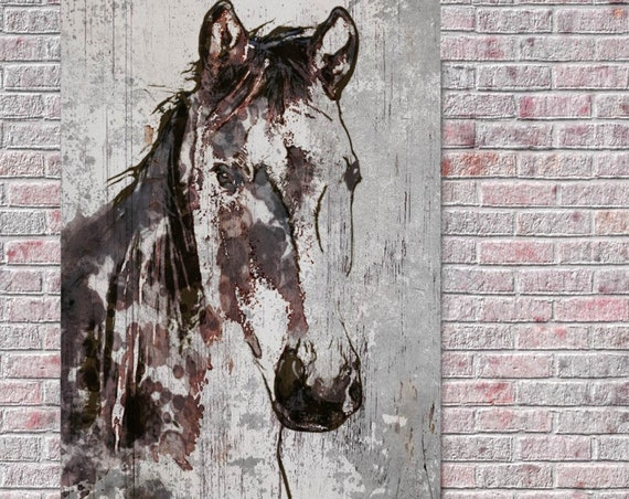 "Frederik Horse. Extra Large Horse, Unique Horse Wall Decor, Brown Rustic Horse, Large Contemporary Canvas Art Print up to 72"" by Irena Orlov"