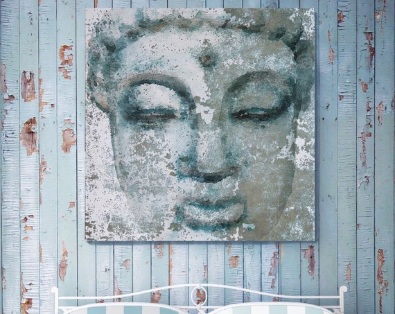 "Buddha 4, Inner Peace 1. Large Rustic Blue Buddha Canvas Art Print  up to 48"", Large Rustic Buddha Canvas Wall Art Decorby Irena Orlov"