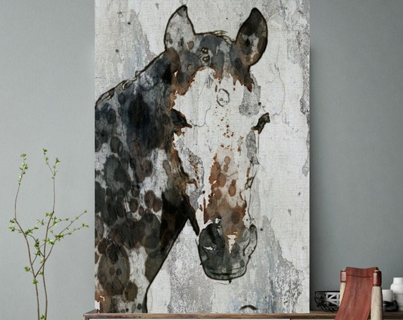 Horse Portrait. Extra Large Horse, Unique Horse Wall Decor, Brown Black White Rustic Horse, Large Canvas Art Print Abstract Horse Equine Art