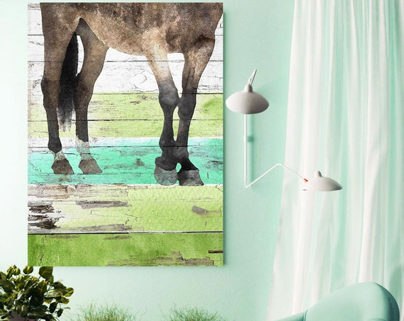 Horse Legs. Extra Large Green Brown Rustic Horse Canvas Art Print, Farmhouse Horse Canvas, Abstract Horse, Equine Art, Modern Horse