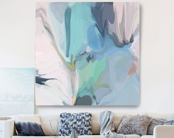 Light Blue Green Gray Painting on Canvas, Flow Abstract Painting, Large Art Print On Canvas, Abstract Centerpiece, The spirits
