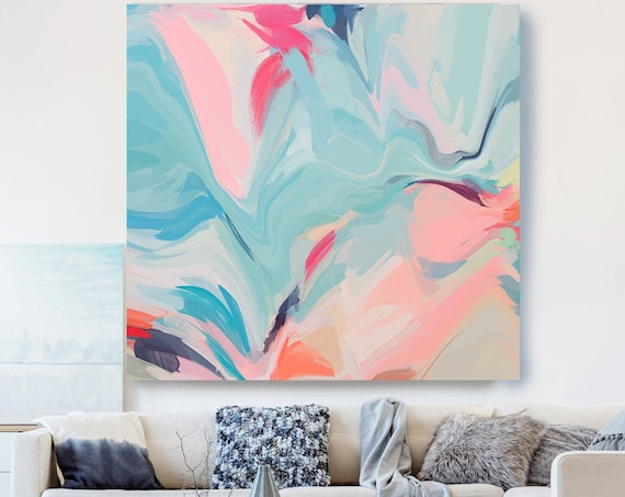 Light Blue Pink Painting on Canvas, Flow Abstract Painting, Large Art Print On Canvas, Abstract Centerpiece, Lines of Life 1