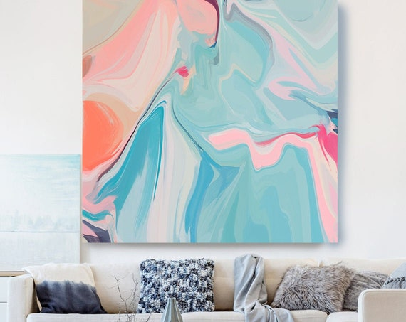 Light Blue Pink Painting on Canvas, Flow Abstract Painting, Large Art Print On Canvas, Abstract Centerpiece, Lines of Life 2