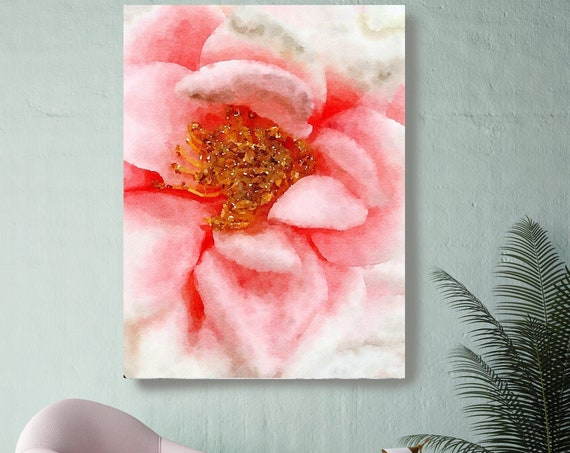 Red Rose Floral painting, Shabby Chick Art, Floral Art, Floral Wall Art, Rustic Flowers Canvas Print, Pretty Farmhouse Wall Art