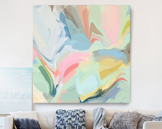 Blue Green Pink Painting on Canvas, Flow Abstract Painting, Large Art Print On Canvas, Abstract Centerpiece, In its best light