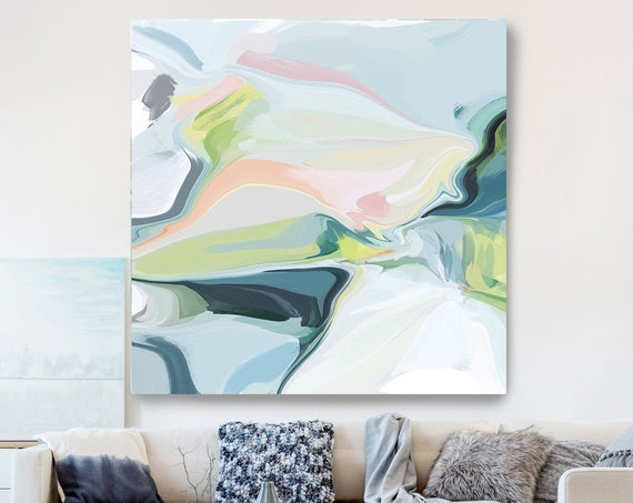 Abstract Light Blue and Green Painting on Canvas, Flow Abstract Painting, Large Art Print On Canvas, Abstract Centerpiece Dreamscape Land