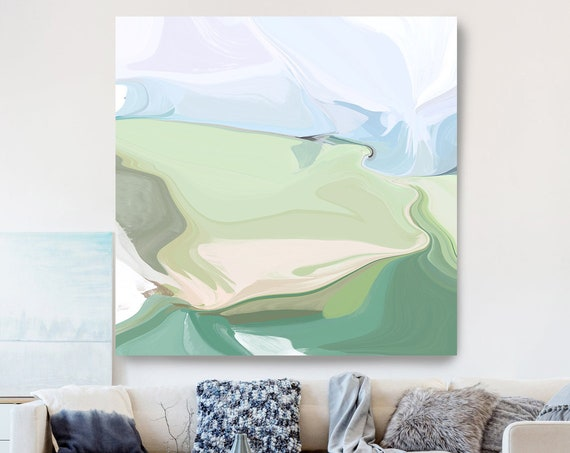 Light Blue Natural Abstract Painting, Beautiful Abstract Art, Modern Wall Decor, Large Canvas Art, The clarity of a shore 2
