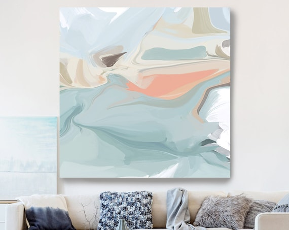 Light Blue Natural Abstract Painting, Beautiful Abstract Art, Modern Wall Decor, Large Canvas Art, Romance and Reality