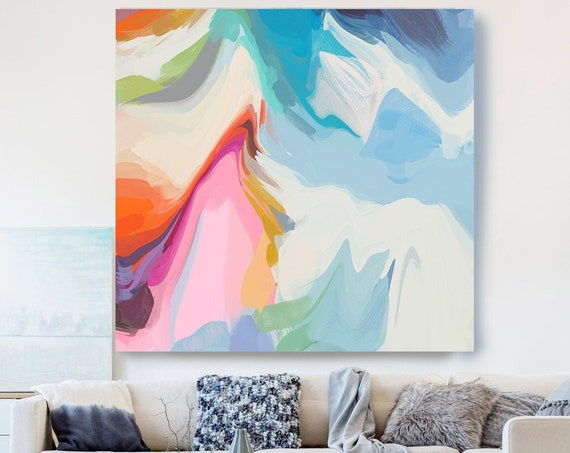Blue Pink Painting on Canvas, Flow Abstract Painting, Large Art Print On Canvas, Abstract Centerpiece, Secret of my Soul