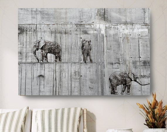 "Walking Elephants 2 Canvas Art Large Canvas, Elephant Canvas Art Print, Black Rustic Elephant Wall Art Print up to 81"" by Irena Orlov"