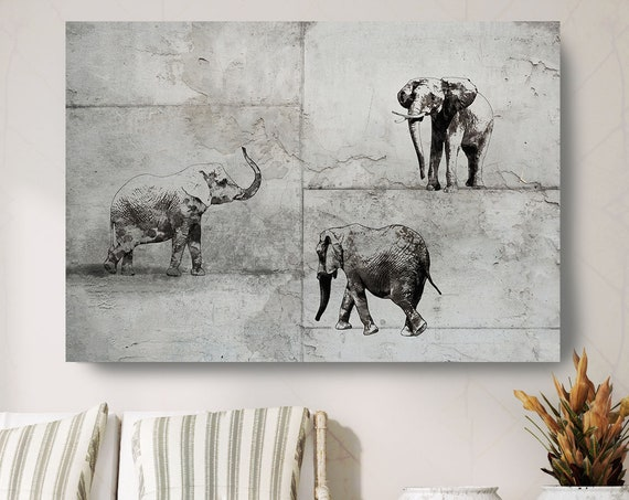 "3 Elephants Canvas Art Large Canvas, Elephant Canvas Art Print, Black Rustic Elephant Wall Art Print up to 81"" by Irena Orlov"