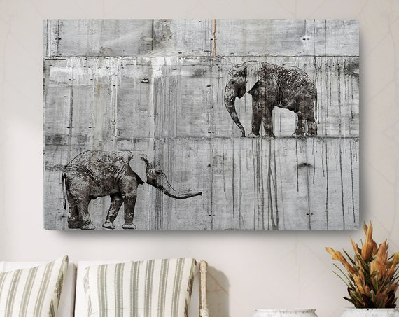 "Walking Elephants 4 Canvas Art Large Canvas, Elephant Canvas Art Print, Black Rustic Elephant Wall Art Print up to 81"" by Irena Orlov"