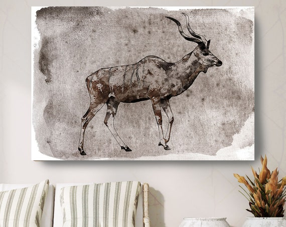 "Kudu Canvas Art Large Canvas, Brown Kudu Canvas Art Print, Kudu Wall Art Print up to 81"" by Irena Orlov"
