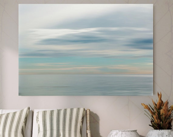 "Calm Water. Large Seascape Contemporary Canvas Art Print, Grey and Blue, Misty Sea up to 60"" by Irena Orlov"