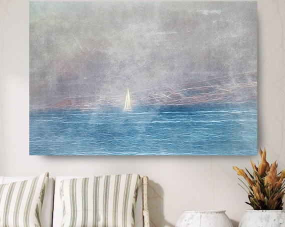 "Ocean Blue, Beach Decor, Boat, Coastal Wall Canvas Art, Blue Black & White, Sea Canvas Print 80"" by Irena Orlov"