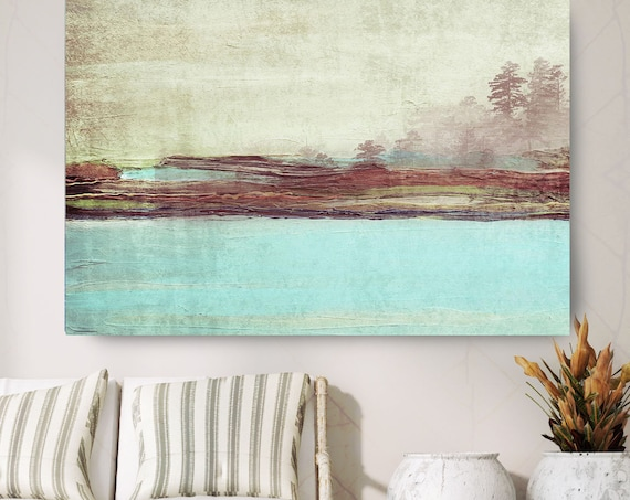 "Blue Landscape. Huge Rustic Landscape Painting Canvas Art Print, Extra Large Turquoise Brown Green Canvas Art Print up to 80"" by Irena Orlov"