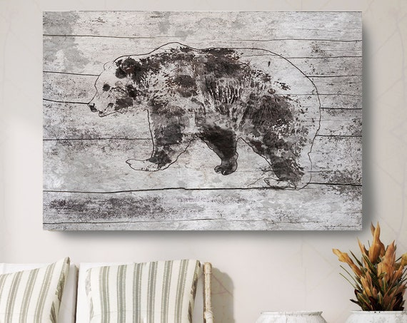 "Mom Bear Art, Bear Painting, Bear Print, Bear Walking, Rustic Bear, Vintage Bear, Bear canvas Art Print up to 81"" by Irena Orlov"