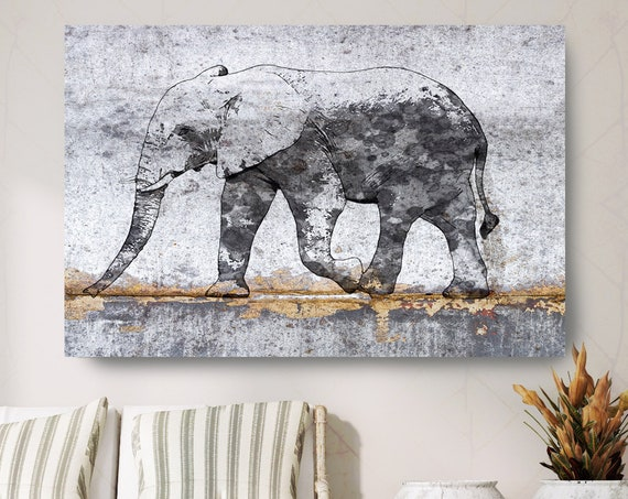 "African Elephant Canvas Art Large Canvas, African Elephant Canvas Art Print, Black Rustic Elephant Wall Art Print up to 81"" by Irena Orlov"
