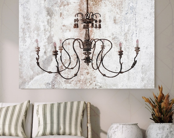 Chandeliers canvas print, Chandelier painting, Shabby Chic chandelier, Brown Chandelier Canvas Print, Chandelier Wall Decor