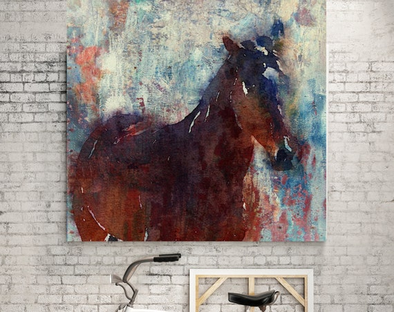 Wild Brown Horse. Large Horse, Unique Horse Wall Decor, Brown Rustic Horse, Horse Portrait, Horse painting, Horse Wall Decor