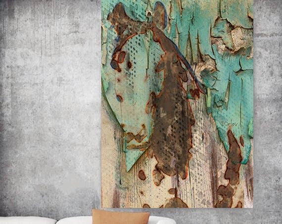 "Eco Horse. Extra Large Horse, Unique Green Horse Wall Decor, Brown Rustic Horse, Large Canvas Art Print up to 72"" by Irena Orlov"