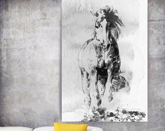 "Wild Running Horse 3. Extra Large Horse Wall Decor, Black White Horse Painting, Large Contemporary Canvas Art Print up to 72"" by Irena Orlov"
