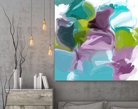 "Boldness of Color. Abstract Purple Blue Extra Large Canvas Art Print up to 48"" by Irena Orlov"
