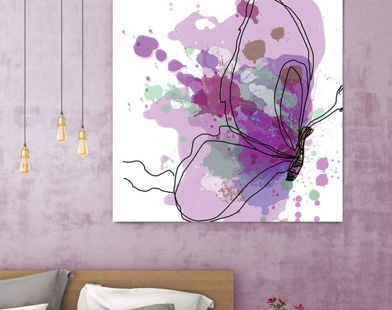 "Butterfly 10, White Purple Teal Butterfly Canvas Art Print, Butterfly Wall Art , Purple Contemporary Canvas Art up to 48"" by Irena Orlov"