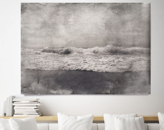 "Wave 2, Beach Decor, Ocean Wave Print, Coastal Wall Canvas Art, Grey Black & White, Monochrome Art, Sea Canvas Print 80"" by Irena Orlov"