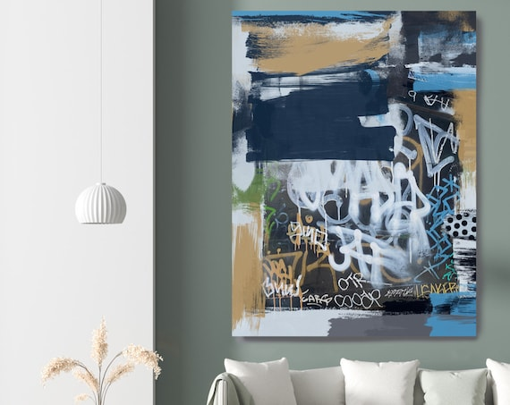 The unifying themes, Street Art, Graffiti Wall Art Blue Street Art Painting Print on Canvas, Large Canvas Print, Urban Canvas Print