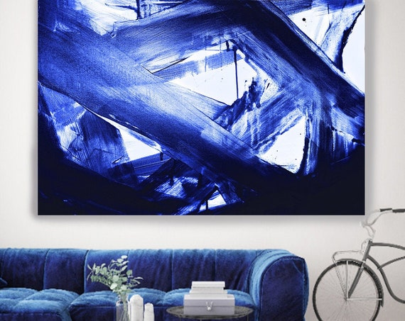 Midnight Navy Blue Abstract Painting Blue Abstract Art Painting Extra Large Blue Painting Extra Large Blue Abstract Canvas Print