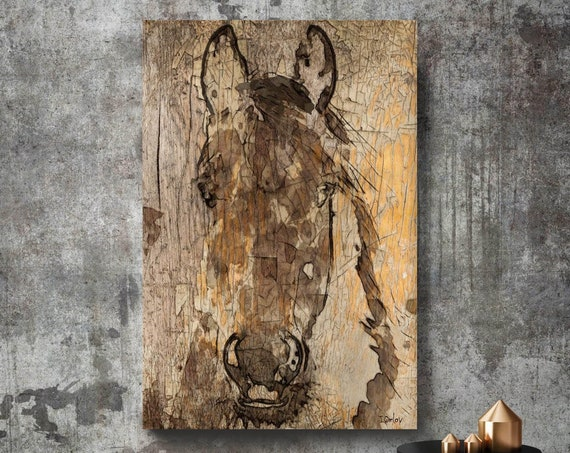 """Prince Horse. Extra Large Horse, Unique Horse Wall Decor, Brown Rustic Horse, Large Contemporary Canvas Art Print up to 72"""" by Irena Orlov"""