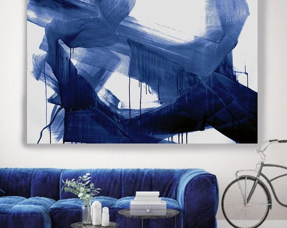 Navy Blue Abstract Painting Sargasso Sea Blue Modern Art Abstract Painting Extra Large Blue Painting Extra Large Blue Abstract Canvas Print