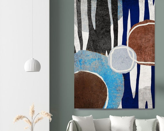 Zebra Abstract variation IV, Abstract Wall Art Pink Blue Art Painting Print on Canvas, Large Canvas Print, Blue Brown Zebra Canvas Wall Art