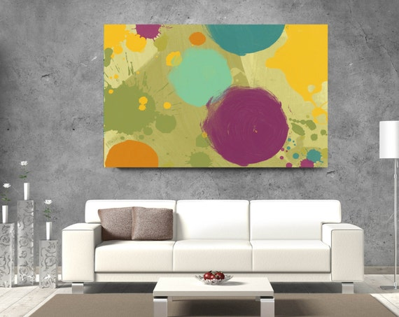 "Color Drops 2. Geometrical Abstract Art, Wall Decor, Extra Large Abstract Colorful Contemporary Canvas Art Print up to 72"" by Irena Orlov"